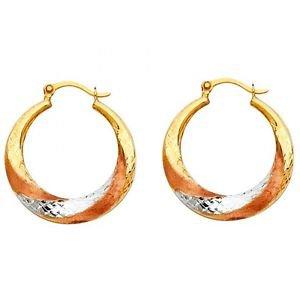 14k Tri Multi Tone Gold Fancy Designer Hollow Light Twist Swirl Hoop Earrings