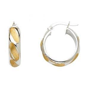 14k Multi Tone Gold Fancy Designer Diamond Cut Hollow Light Hoop Earrings - 6 mm