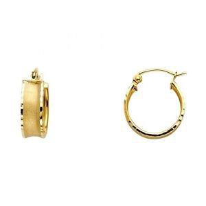 14k Yellow Gold Fancy Designer Diamond Cut Hollow Light Hoop Earrings - 5.0 mm
