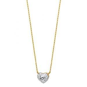 14k Multi Tone Gold Diamond Cut Heart Charm Pendant Necklace