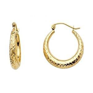 14k Yellow Gold Fancy Designer Diamond Cut Hollow Light Hoop Earrings - 4.0 mm