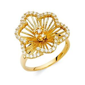14k Gold Fancy Star of David Flower Design Cluster Ring Resizable - Size 7*