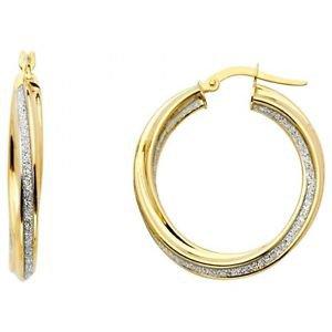 14k Two Tone Gold Fancy Designer Hollow Light Sparkle Center Twist Hoop Earrings
