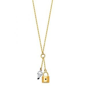 14k Multi Tone Gold Highly Polished Key and Lock Charm Pendant Necklace