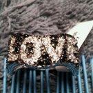 925 Sterling Silver Black Oxidized Love Message Statement Designer Ring Size 7