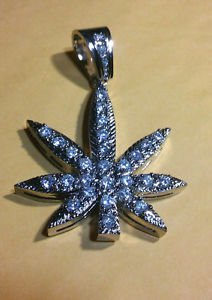 925 Sterling Silver Heavy Designer Men's Marijuana Hemp Power Charm Pendant w Cz