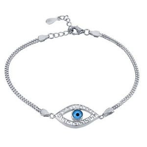 Sterling Silver Double Box Chain Nazar Evil Eye Cubic Zirconia Accented Bracelet