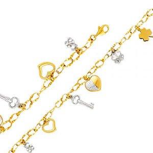 14K Two Tone Gold Designer Link Bracelet w/Teddy Hearts Key & Lucky Clovers