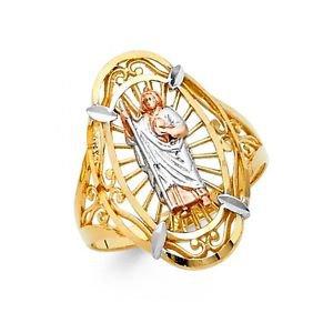 14k Multi Tone Gold Fancy Filigree San Judas Tadeo Design Love Ring - Size 7*