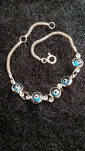 14k Yellow Gold Nazar Evil Eye Charmed Light Blue Bracelet - 6 inch Adjustable