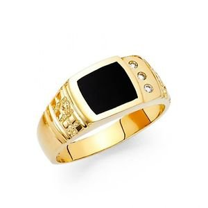 14k Yellow Gold Mens Onyx Free Band Ring Resizable - Size 8*