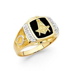 14k Yellow Gold Mens Onyx Free Mason Band Ring Resizable - Size 8*
