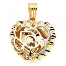 14k Two-Tone Gold Diamond Cut Love Rose Heart Shape Design Charm Pendant