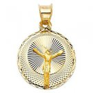 14k Yellow Tone Gold Designer Holy Dedication Jesus Prayer Image Pendant Charm
