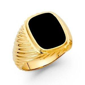 14k Yellow Gold Designer Swirl Heavy Mens Onyx Free Band Ring Resizable - Size 8