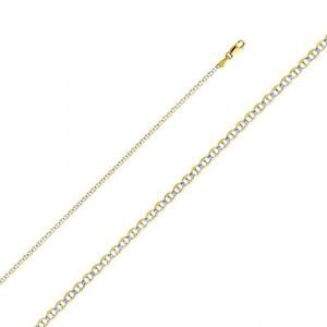 14k Yellow Gold White Paved Fancy Flat Mariner Chain Necklace - 2.0 mm