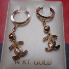 14K Yellow Gold Designer Diamond Cut Style Hanging Dangle Drop Huggie Earrings