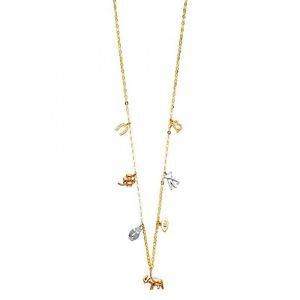 14k Multi Tone Gold Lucky 13 Horseshoes Heart Elephant Unique Designer Necklace