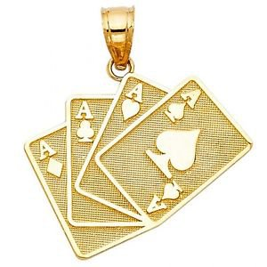 14k Yellow Gold Fancy Designer Mini Four of a Kind Aces Lucky Hand Charm Pendant