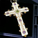 14k Yellow Gold Enamel Amethyst Designer Stained Glass Design Crucifix Cross