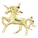 14k Yellow Gold Fancy Designer Diamond Cut Magical Light Unicorn Charm Pendant