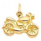 14k Yellow Gold Detailed Diamond Cut Designer Motorcycle Image Charm Pendant