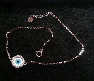 14k White Gold Stained Glass Evil Eye Blue Nazar Lucky Charmed Designer Bracelet
