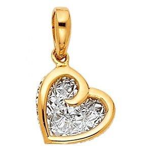 14k Two Tone Gold Eternal Love Heart Diamond Cut Unique Designer Charm Pendant