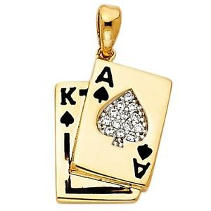 14k Yellow Gold Fancy Designer Spade and King Ace Poker Cz Enamel Charm Pendant