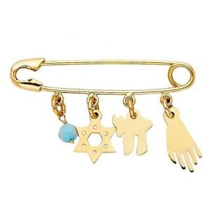 14k Yellow Gold Evil Eye Nazar Hamsa Star of David Lucky Diaper Safety Pin