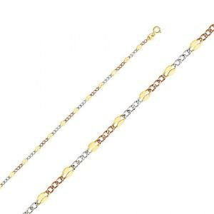 14k Yellow Gold Stamped 3+1 Figaro Light Fancy Tri Color Chain Necklace - 3.2 mm
