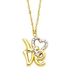 14k Two Tone Gold Diamond Cut Designer Hollow Heart Love Charm Pendant Necklace