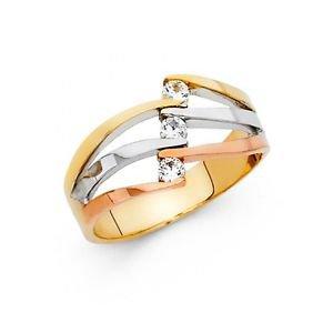 14k Tri Tone Gold Designer Cubic Zirconia Semanario Ring Resizable Size 7
