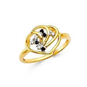 14k Yellow Gold Fancy Designer Cubic Zirconia Heart Ring Resizable - Size 7