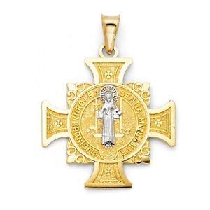 14k Two Tone Gold Saint Benedict San Benito Religious Cross Charm Pendant 29 mm