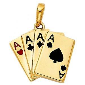 14k Yellow Gold Fancy Designer Ace Four of Kind Poker Enamel Charm Pendant