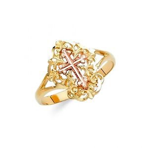 14k Two Tone Gold Fancy Filigree Design Anniversary Love Cross Ring - Size 7*