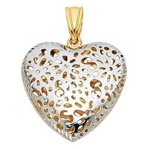 14k Two Tone Gold Flower Diamond Cut Hole Punched Heart Design Charm Pendant