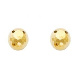14k Yellow Gold Designer Disco Ball Diamond Highly Polished Stud Earrings 9mm