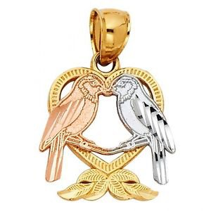 14k Multi Tone Gold Diamond Cut Love Bird Heart Shape Designer Charm Pendant