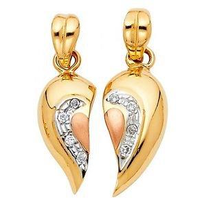 14k Tri Colored Gold Broken Heart Designer Couples 4ever Love Charm Pendant Set