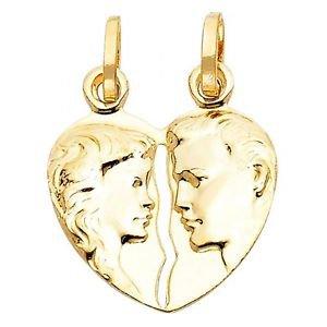 14k Yellow Gold Hammer Press Couple's Embrace Heart Shape Design Charm Pendant