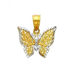 14k Two-Tone Gold Filigree Butterfly Flutterby Shaped Designer Charm Pendant