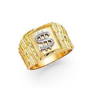 14k Yellow Gold Mens Diamond Cut Money King Band Ring Resizable - Size 8*