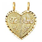 14k Yellow Gold Diamond Cut Te Amo I Love You Broken Heart Design Charm Pendant