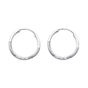 14k White Gold Fancy Designer Hollow Light Diamond Cut Hoop Earrings - 1.5 mm