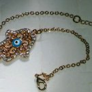 14k Yellow Gold Plated Hamsa Nazar Evil Eye Good Luck Designer Bracelet Crystals
