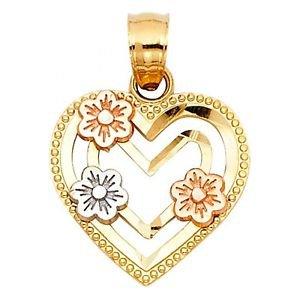 14k Multi Tone Gold Diamond Cut Flower Love Heart Shape Designer Charm Pendant