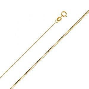 14k Yellow Gold Light Designer Italian Fancy Box Style Chain Necklace - 0.6 mm