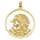 14k Yellow Gold Mexican Eagle Patriotism Aguila de Mexico Charm Pendant 30 mm